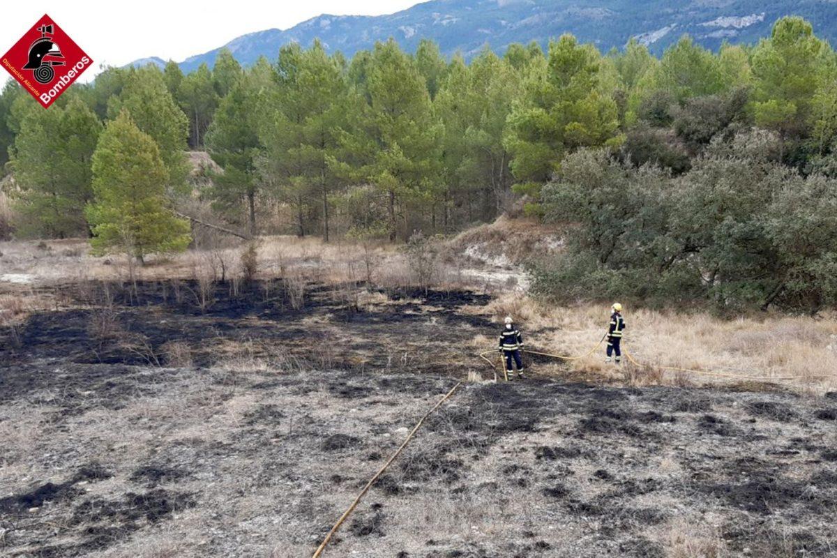 Extingit l'incendi descontrolat de cultius a Alfafara