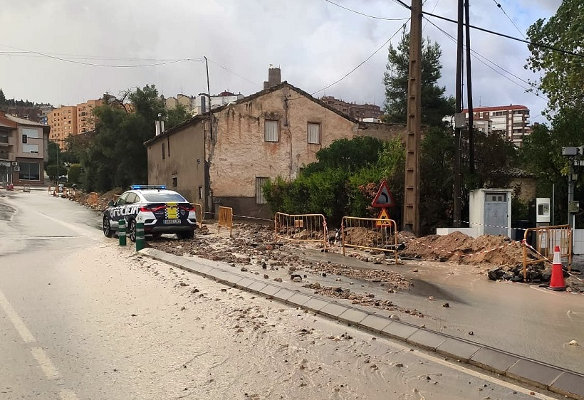 Les pluges torrencials causen danys a Banyeres de Mariola